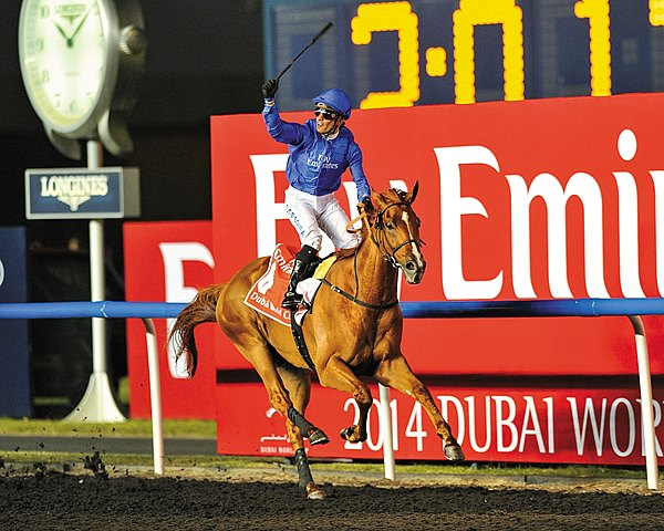 Godolphin Racing's African Story was guided off the inside at the head of the straight to overtake pacesetter Mukhadram en route to a comfortable victory in the $10 million Dubai World Cup Sponsored by Emirates Airline (UAE-I) at Meydan.