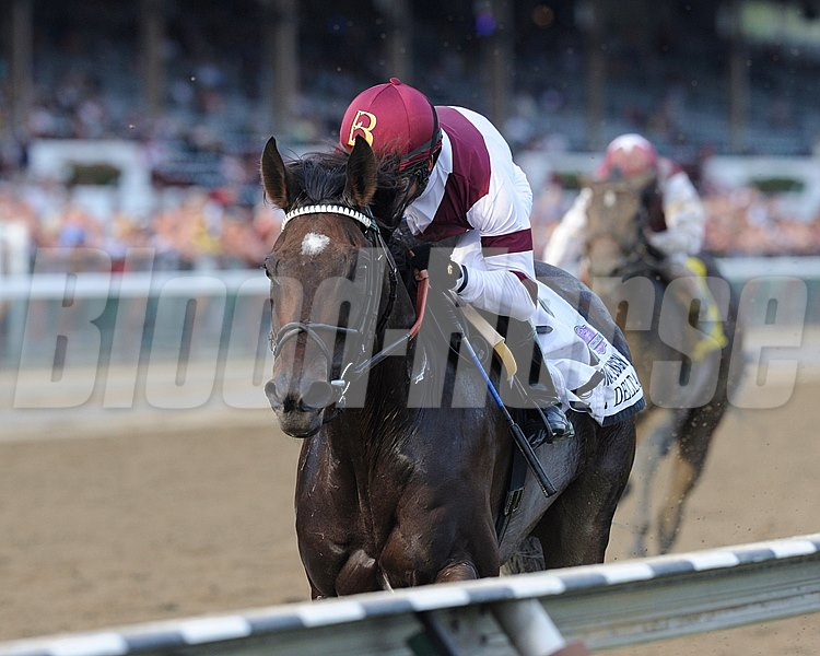 Royal Delta wins the $600,000 Personal Ensign Invitational Handicap (gr. 1) with jockey Mike Smith.