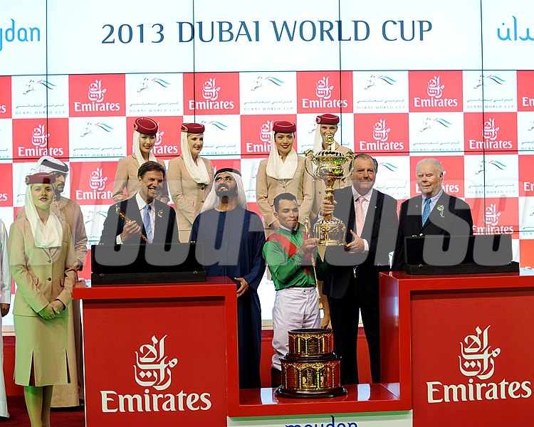 The Dubai World Cup trophy presentation with the connections of Animal Kingdom.