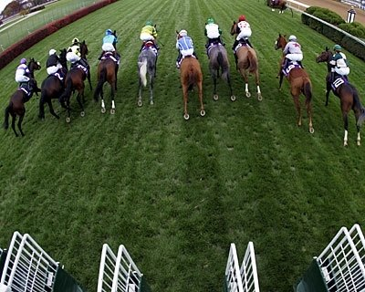 The pack breaks from the gate during the Breeders' Cup Filly/Mare race at Churchill Downs in Louisville, Kentucky.