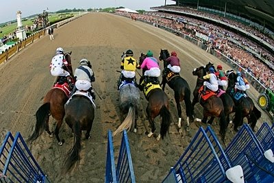 The Start of the Belmont, Big Brown breaks outward, possibly reacting to the starter (upper left of photo).