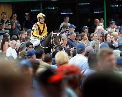 Rachel Alexandra enters the post parade to cheers from nearly 37,000 enthusiastic fans.