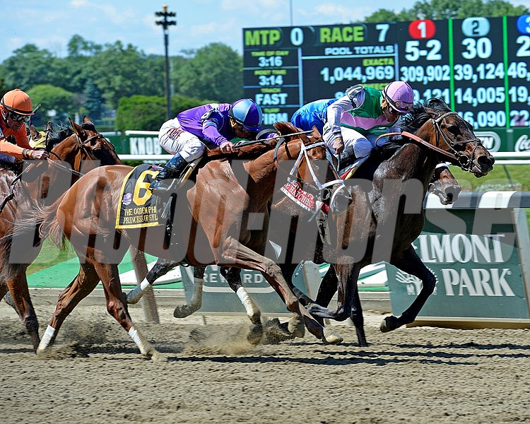 Close Hatches with Joel Rosario wins the Ogden Phipps (gr. I). Princess of Sylmar (6) in second outside, Antipathy inside in third. Beholder in orange, left.