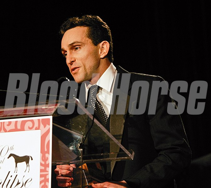 Eclipse Awards at the Fontainebleau Hotel in Miami Beach, Ramon Dominguez accepts the award for Jockey of the year.