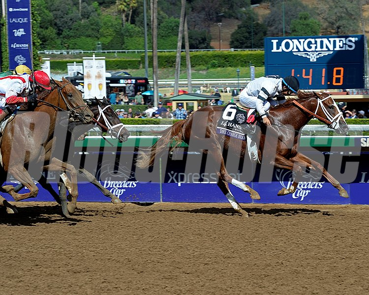 Take Charge Brandi, with Victor Espinoza, wins the Breeders' Cup Juvenile Fillies at Santa Anita on Nov. 1, 2014, in Arcadia, California.