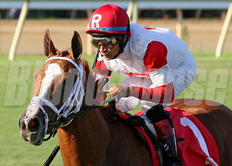 Thank You Marylou and jockey Alan Garcia win The Tippett Stakes at Colonial Downs in New Kent, Virginia.