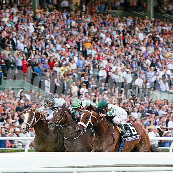 Mucho Macho Man (Inside) with Gary Stevens up beats Will Take Charge (outside) with Luis Saez up and Declaration Of War (middle) with Joseph O'Brien up to win the Breeders' Cup Classic at Santa Anita Park on November 2, 2013.