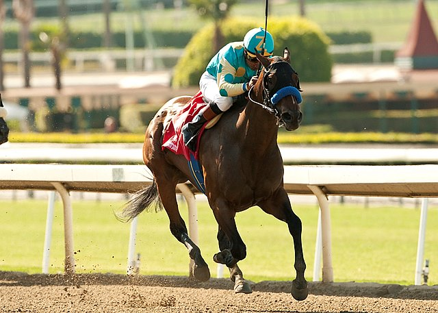 Jojo Warrior, ridden aggressively from the rail by Martin Garcia, was a resounding gate-to-wire winner of the $200,000 Grade II Summertime Oaks at Santa Anita Park.