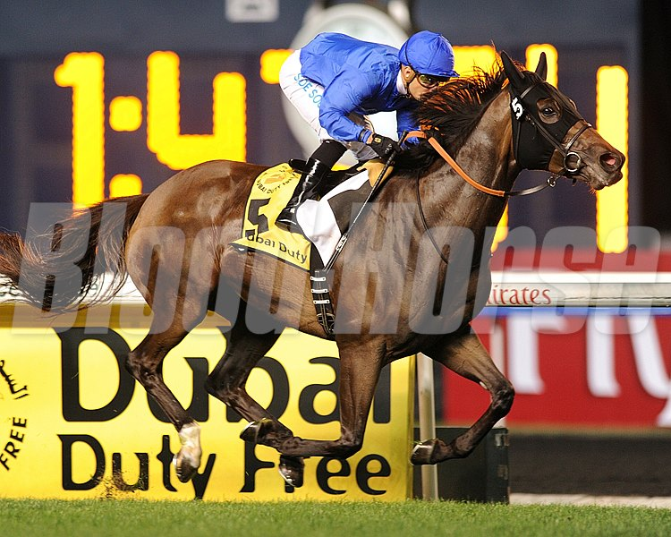 Godolphin Racing's Sajjhaa displayed a late turn of foot and kicked clear in the stretch to win the Dubai Duty Free.
