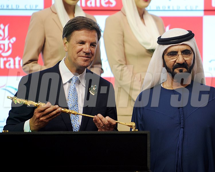 Animal Kingdom trainer Graham Motion and Sheikh Mohammed following the Dubai World Cup.