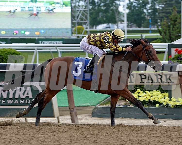 Isabelle with Alex Solis up captures the Bouwerie Stakes at Belmont Park.
