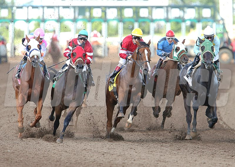 Lil' Apollo and jockey Dean Butler wins the Minnesota Derby at Canterbury Park in Shakopee, Minnesota.