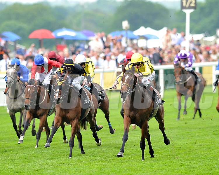 Rizeena, James Doyle up, wins the Queen Mary Stakes June 19, 2013.