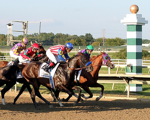 Bayern #4  and California Chrome #1 break well from the starting gate in the 35th Running of the Grade II Pennsylvania Derby at Parx Racing.