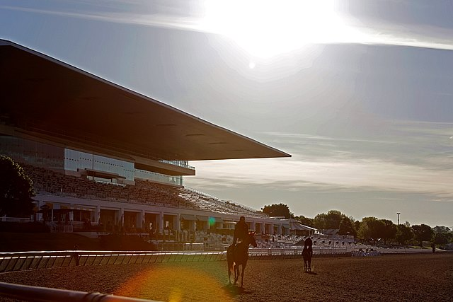 "Sun rises over Arlington Park as horses train on the main track. The Illinois oval is featured in Claire Novak's longform feature ""Man Behind the Million,"" sponsored by Ramsey Farm -- Experience at www.bloodhorse/ArlingtonLongform"