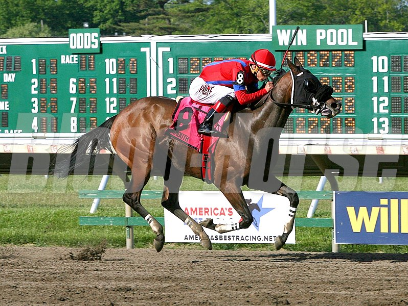 Natalie Victoria #8 with Jose Ortiz riding won the $75,000 Monmouth Beach Stakes at Monmouth Park in New Jersey.