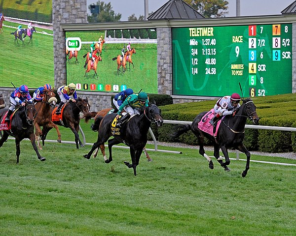 Crown Queen, a half sister to champion Royal Delta, earned her first grade I victory with a sparkling late run in the $500,000 Grade I Queen Elizabeth II Challenge Cup Presented by Lane's End at Keeneland.