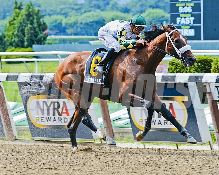 Mucho Macho Man wins the Suburban Handicap (gr. II) with jockey Mike Smith July 7, 2012.