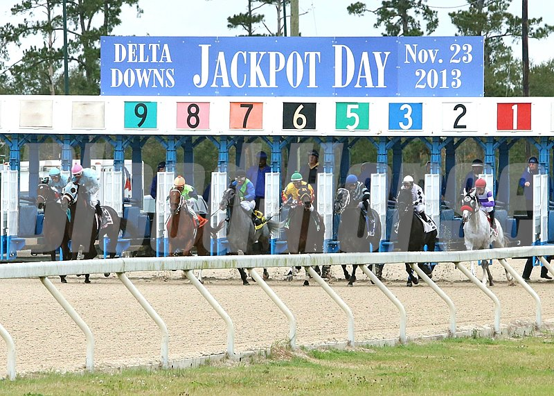 Start of the Sam's Town Stakes at Delta Downs in Vinton, Louisiana.