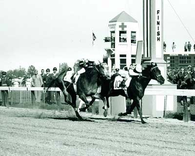 1953: Dark Star (inside) wins by a head, handing Native Dancer his only career defeat.