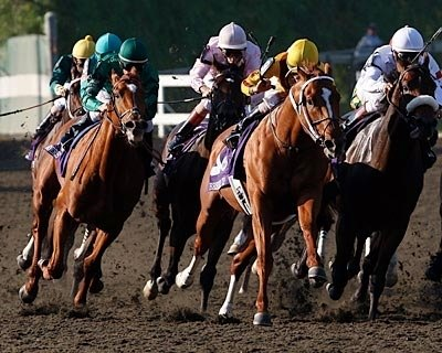 Raven's Pass (left), a European-based 3-year-old who had never raced beyond a mile, followed Horse of the Year Curlin around the turn, then swept past him in the lane to win the $5-million Breeders' Cup Classic (gr. I) (VIDEO) Oct. 25 at Santa Anita Park.