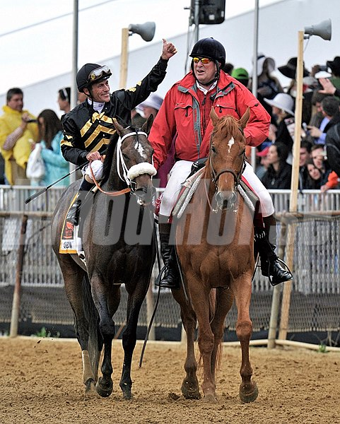 Gary Stevens waves to the Pimlico crowd after winning the Preakness aboard Oxbow...