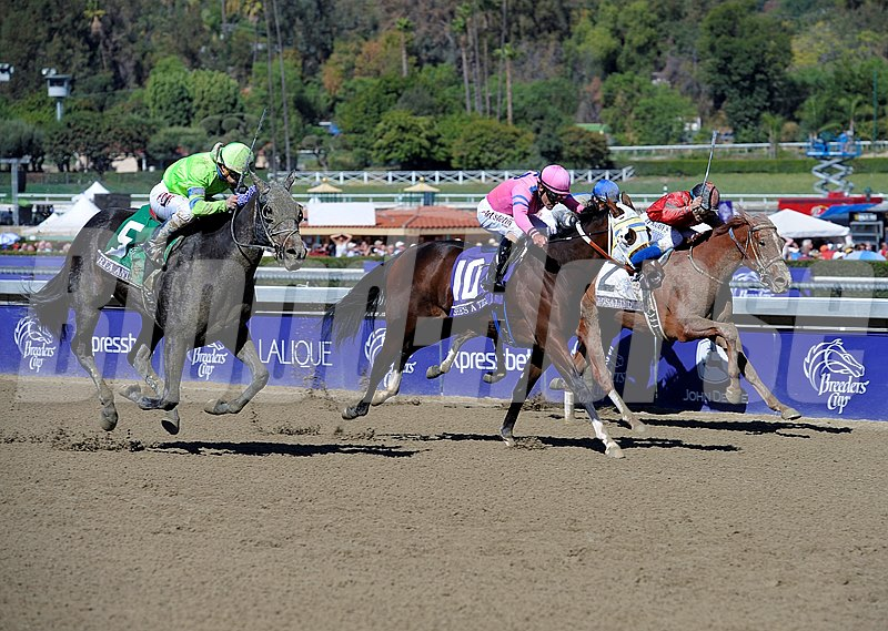 Ria Antonia with Javier Castellano, left, win the Breeders' Cup Juvenile Fillies through disqualification of She's A Tiger with Gary Stevens.