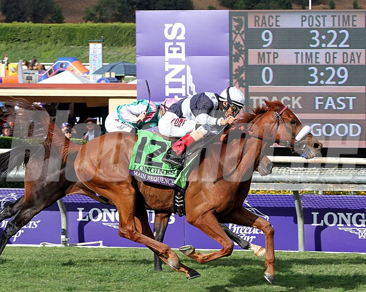 Main Sequence, with John Velazquez, wins the Breeders' Cup Turf (gr. I) at Santa Anita Park on Nov. 1, 2014.