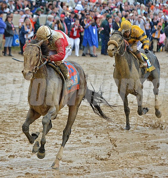 Orb, Joel Rosario up, winning the Kentucky Derby © 2013 Adele Bellinger/The Blood-Horse