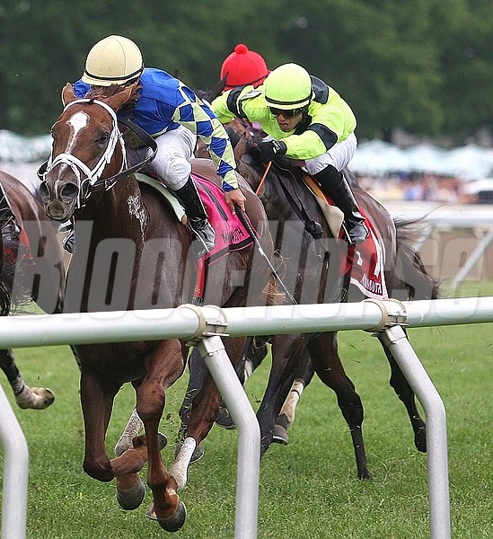 Malibu Way (L) with Joe Bravo riding, passes Heavy Breathing #8 and Elvis Trujillo to win the $60,000 Lamplighter Stakes at Monmouth Park.  Photo By Bill Denver/EQUI-PHOTO