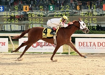 Cajun Charlie with Tracy J. Hebert aboard, in the third running of the Louisiana Legacy.