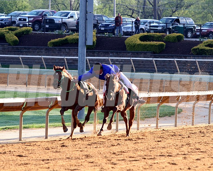 A Charles Town outrider catches Tup Take' Please following the 4th race on April 20, 2013. Photo by: Chad B. Harmon