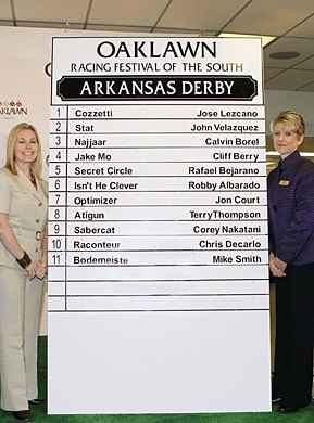 The Racing Festival of the South kicked off with the Post Parade draw for the Arkansas Derby. Cozzetti was on the rail, and favorite Bodemeister drew the outside post, number 11.