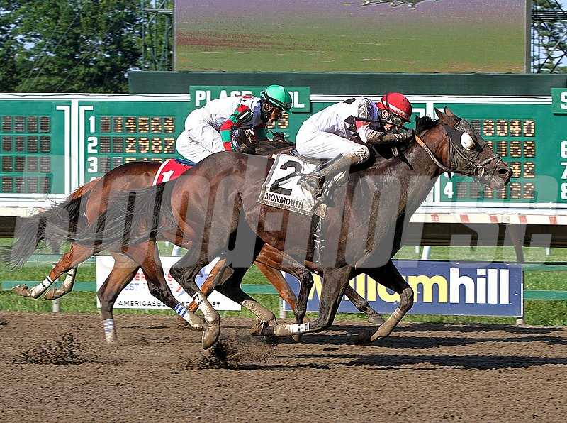 Cherokee Artist #2 with Trevor McCarthy riding wins the $75,000 Mr. Prospector Stakes at Monmouth Park in Oceanport, New Jersey.