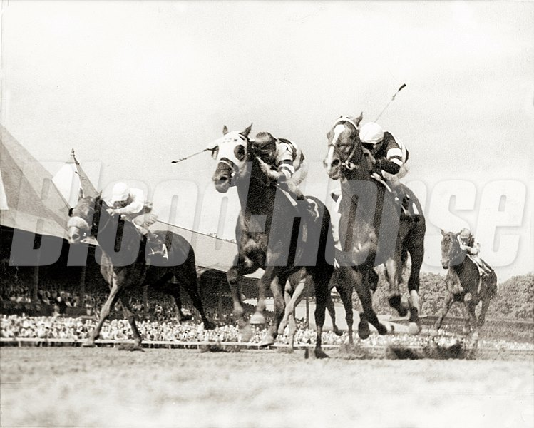 #3 Jaipur battling #2 Ridan (inside) to win the 1962 Travers Stakes at Saratoga Springs on August 18, 1962.