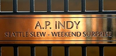 A. P. Indy: $2.9 million dollar yearling, Classic Winner, 1992 Horse of the Year, Leading Sire