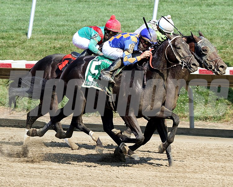 Awesome Bet w/Kent Desormeaux up wins the 5th Running of The Barbaro Stakes over JW Blue (#8) w/Sheldon Russell up and Meistersinger (#7) w/Jose Lezcano up at Delaware Park on July 9, 2011.