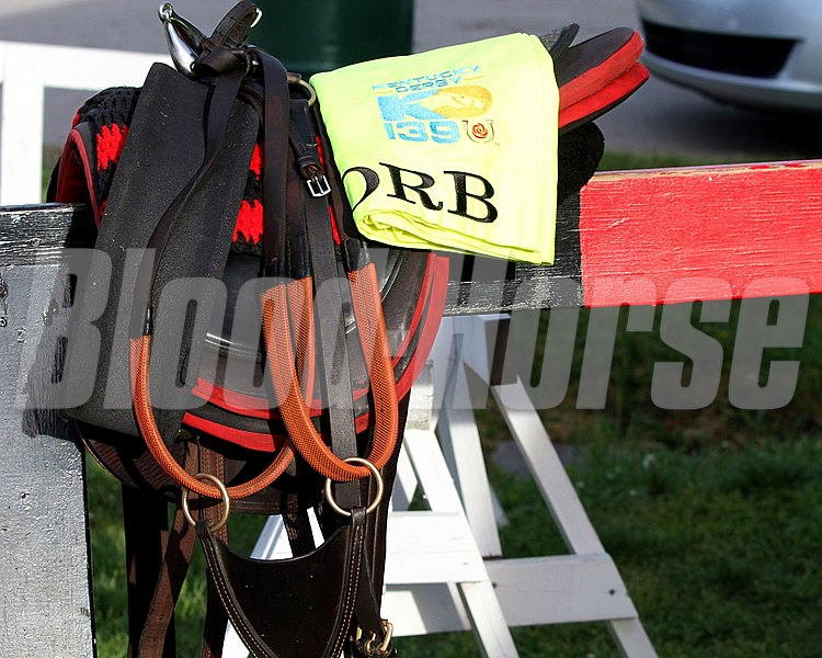 Orb saddle and saddle cloth all ready at Churchill Downs on May 2, 2013.
