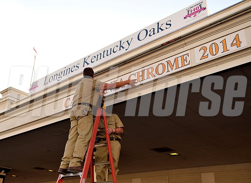 The sign of Kentucky Derby 140 winner California Chrome being put up in the Paddock at Churchill Downs.