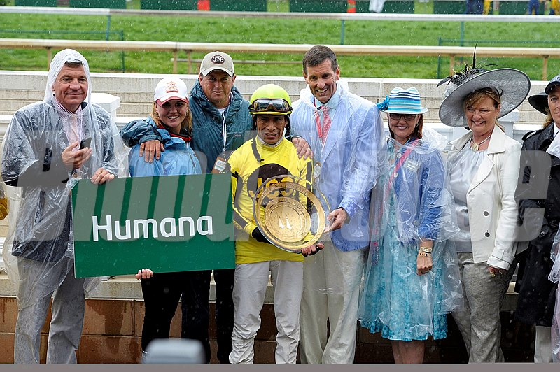 Caption:  Aubby K with Edgar Prado wins the Humana Distaff (gr. I)  at Churchill Downs near Louisville, Ky. on May 4, 2013, during Kentucky Derby and Kentucky Oaks week.