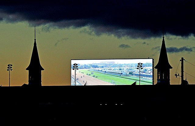 (May 1, 2014) From  3/4's of a mile away, you can see the new big screen at Churchill downs...