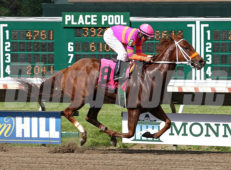 Srumdiddlyumptious #8 with Elvis Trujillo riding easily won the $60,000 Fort Monmouth Stakes at Monmouth Park in Oceanport, N.J.