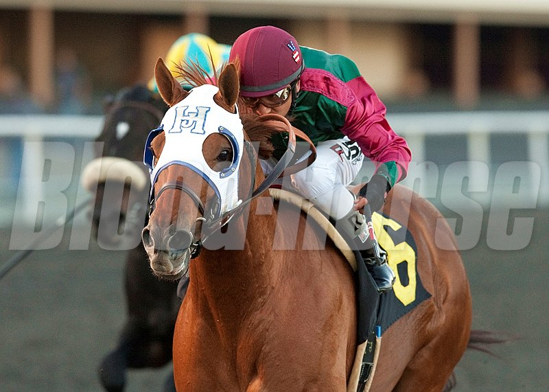 Rousing Sermon and Rafael Bejarano win the $100,000 On Trust Handicap at Betfair Hollywood Park.
