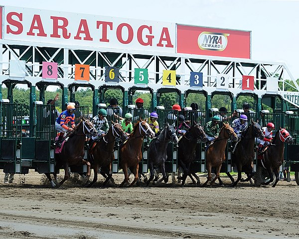 Start of the 1st race opening weekend at Saratoga Race Course in New York.