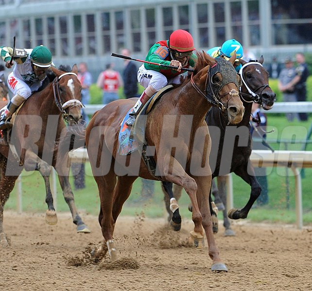 Animal Kingdom ridden by jockey John Velazquez wins the 137th running of the Kentucky Derby at Churchill Downs in Louisville, KY May 7, 2011.   (Skip Dickstein / Times Union)