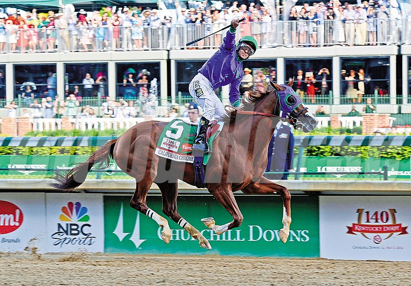 Derby dreams, no matter how unprobable, do come true. Favored California Chrome pulled clear in the stretch to win the May 3 Kentucky Derby Presented by Yum! Brands (gr. I) by 1 3/4 lengths over  Commanding Curve at Churchill Downs before 164,906, the second-largest crowd in Derby history.