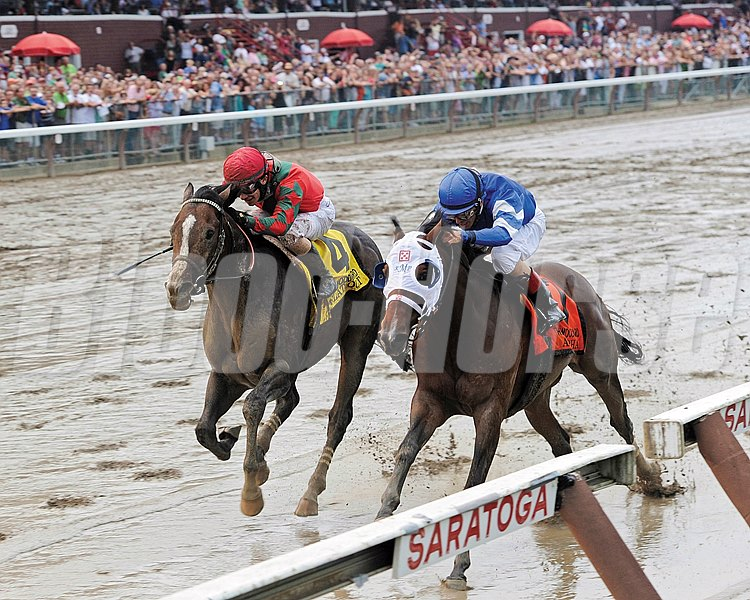 Godolphin Stables' Alpha sprung a wire-to-wire upset in the $735,000 Woodward Stakes (gr. I) at Saratoga Race Course Aug. 31.