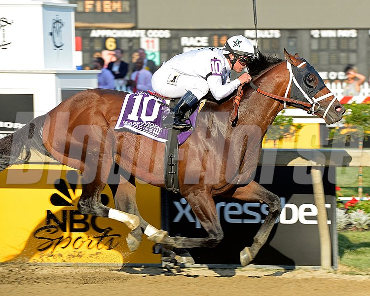 Caption:  Commissioner with Javier Castellano for WinStar and Todd Pletcher wins the Sagamore Racing Pimlico Special (gr. III) on May 15, 2015, for owner Stonestreet and trainer Dale Romans and Tammy Fox