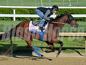 Maybellene works at Churchill Downs April 27.