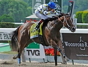 Champagne d'Oro Pops at Price in Acorn Stakes